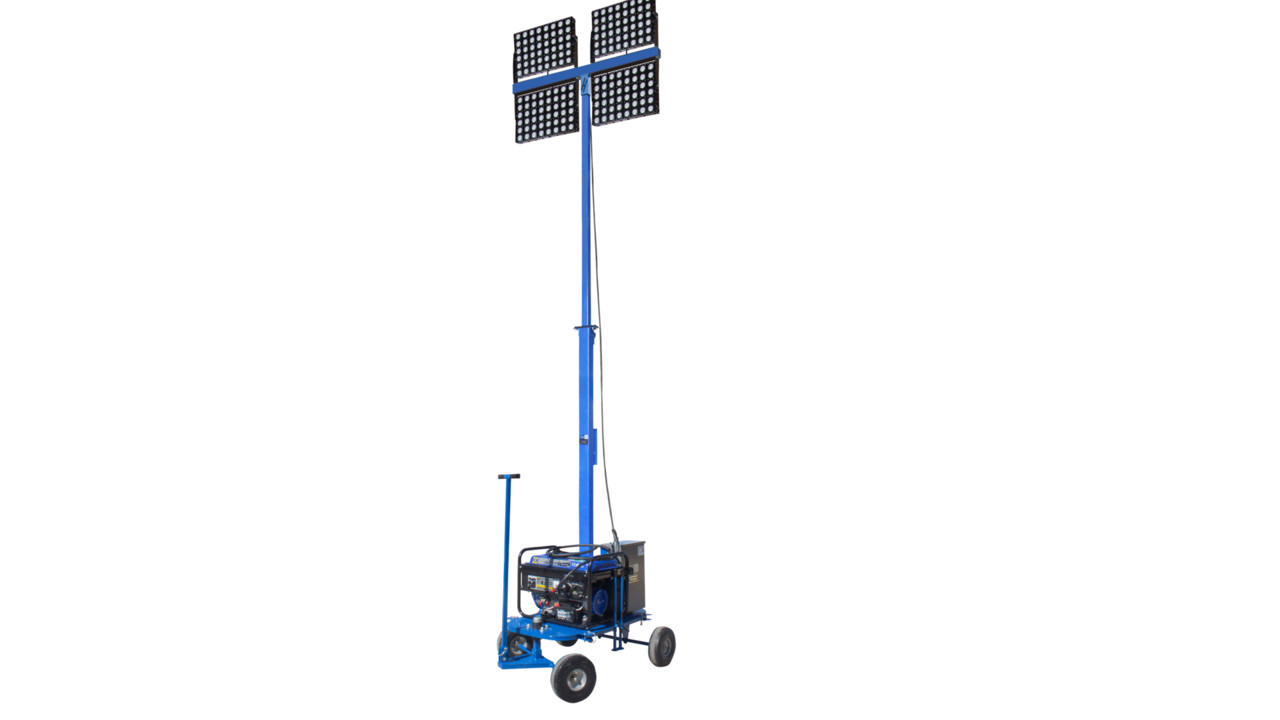 Mini Lighting Towers Small Generators with 2 flood lights on wind up poles